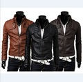 Free Shipping 2016 Leather Jacket Men Stand Collar Autumn New Men's leather style Men's Slim Fit Leather Clothing Black Brown