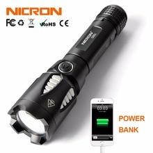 NICRON 9W Dài Tia Siêu Sáng Đèn Pin LED Xách Tay Chống Nước IPX8 Chống Nước 5 Chế Độ Power Bank ĐÈN Pin LED g90