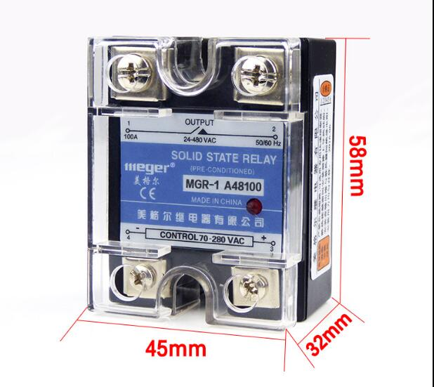 Mager  SSR 100A  AC-AC Solid state relay  Quality Goods MGR-1 A48100A mager genuine new original ssr 80dd single phase solid state relay 24v dc controlled dc 80a mgr 1 dd220d80