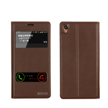 Window Cover Case For Sony Xperia Z3 Top Quality Genuine Leather Flip Stand Mobile Phone Bag + free gift