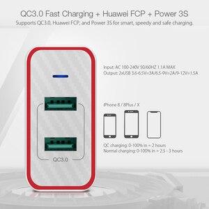 Image 3 - Blitzwolf carregador rápido usb de 36w, plugue ue, adaptador de porta dupla, carregador de parede para xiaomi roidmi 2s s9 iphone 8 para huawei p10 p20