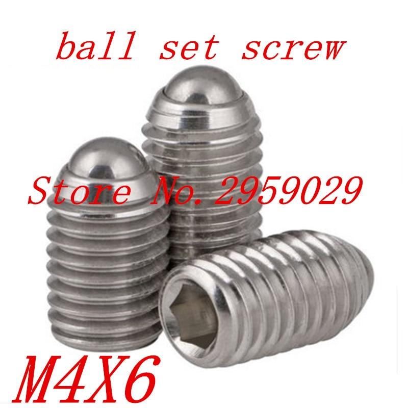 20pcs M4*6 4mm Stainless steel 304 Hex Socket Spring Ball Plunger Set Screw 20pcs m3 6 m3 x 6mm aluminum anodized hex socket button head screw