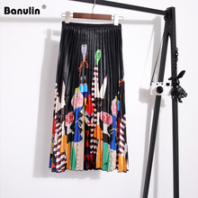 Banulin Womens New Skirt Summer Skirts 2019 Spring Luxury Cartoon Print Pleated High Waist Floral Printing Saia