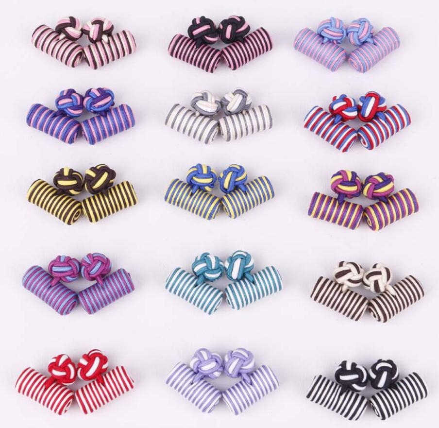 20pairs lot Silk Knot Cufflink 18 Colors Cylinder Knitting Cuff Links Handmade Cuff Button DIY Accessory