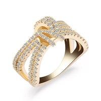 Hot Sale Finger Ring Gold Silver Filled Zircon Wedding Party Twist Zircon Rings For Women