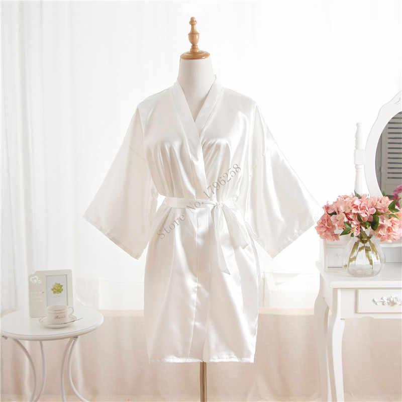 Woman Bathrobe Pajamas Silk Bridesmaid Bride Robe Sexy Women Short Satin  Wedding Kimono Robes Sleepwear Nightgown 73d36bd03