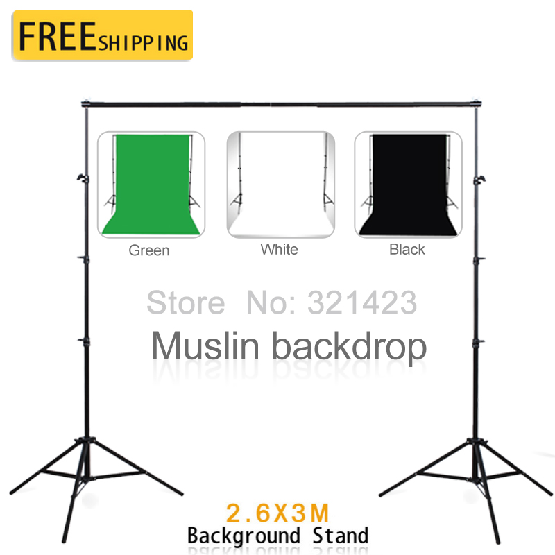 Photography Equipment 2 6 3m Background Support With 3 2m White Black Green Cotton Muslin Backdrops