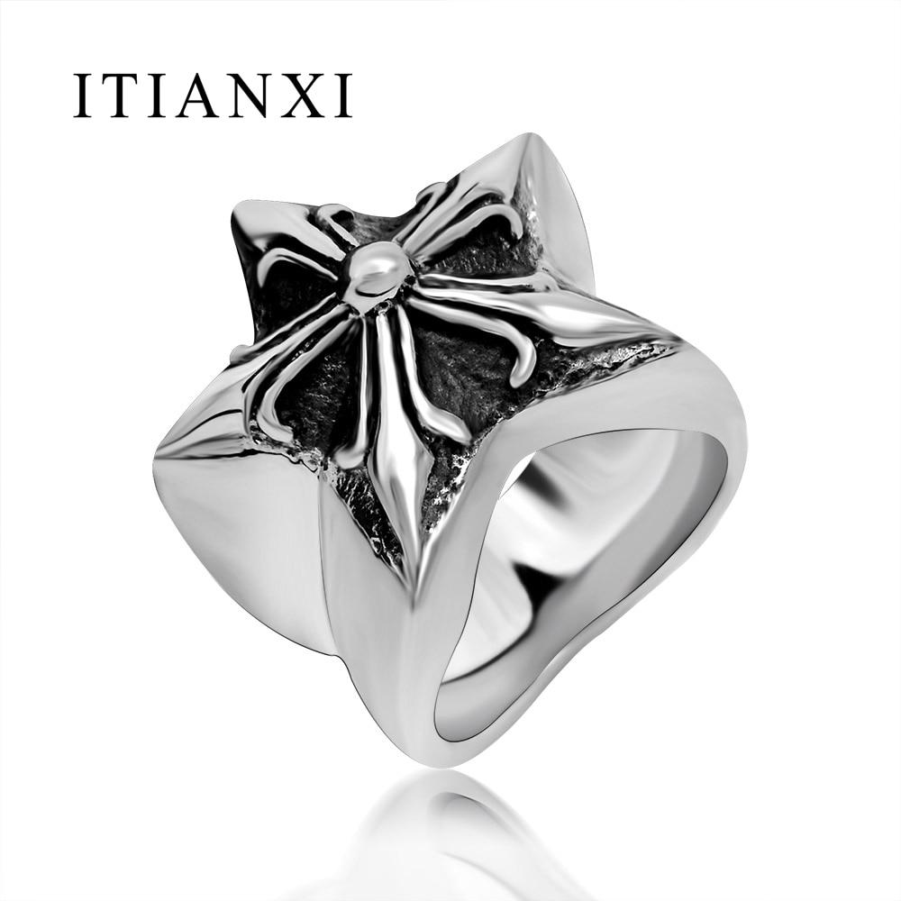 ITIANXI New Design Pentagram Iris Ring Vintage Simple Finger Ring Fashion Noble Luxury Elegant Charm 316L Titanium Steel Unisex