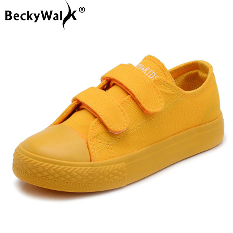 BeckyWalk Candy Color Kids Shoes Boys Girls School Sport Shoes Spring Low Top Canvas Shoes Rubber Soles Children Sneakers CSH735