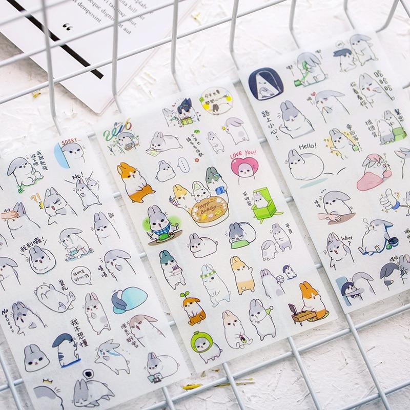 6 Sheets Kawaii Cartoon Rabbit Cute Stationery Sticker Lovely Bunny Scrapbooking DIY Label Sticker Papeleria School Supplies