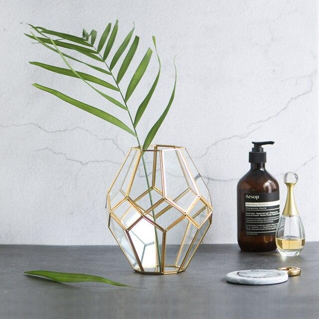 Hot Classic flower vases metal with crystal glass vase home decor valentine's gift tabletop flower pot popular