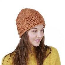 Lovely Handmade With a Flower Winter Beanies Warm Wool Caps For Women Skullies knitted Girls Cap Sweet Cute Hats z1