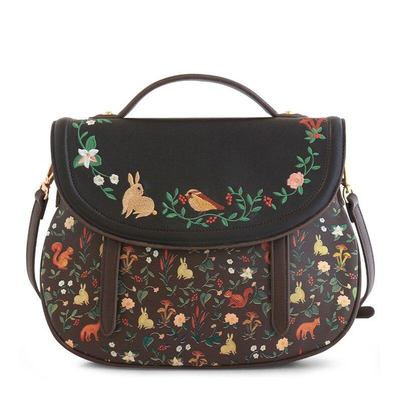 ENSSO Fashion Women Saddle Bag Vintage Embroidery PU Leather Shoulder Bag 3 Ways Used Handbag Back pack Crossbody Bag-in Shoulder Bags from Luggage & Bags    1