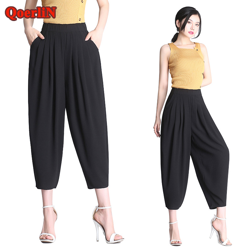 QoerliN Plus Big Size Chiffon Black Office Ladies   Pants     Capri   Bottoms Harem Trouser Elastic Waist Loose Radish Lantern   Pant   2018