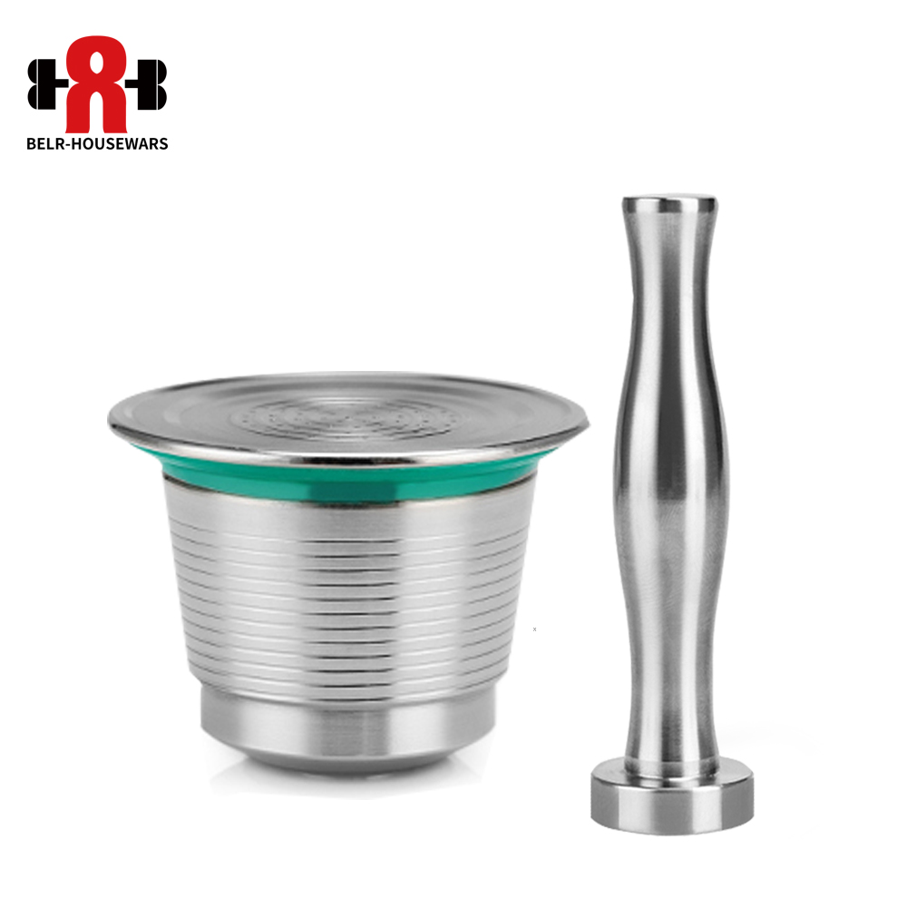 Coffee filter Stainless Steel Nespresso Reusable Capsule with Press coffee Stainless Tamper Refillable Coffee Capsules Pos