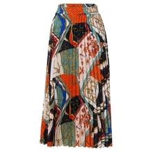 Женская плиссированная юбка средней длины, длинная трапециевидная юбка с высокой талией и поясом на резинке, весна лето 2021