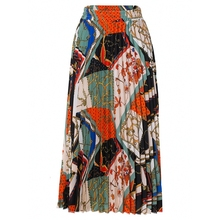 2021 חדש אופנה גבוהה מותן קפלים חצאית נשים אביב קיץ Midi חצאיות נשים אלסטי מותניים קו ארוך חצאיות עבור נשים רוק