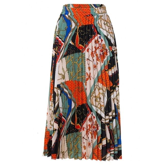 2021 New Fashion High Waist Pleated Skirt Women Spring Summer Midi Skirts Womens Elastic Waist A Line Long Skirts For Women Rok