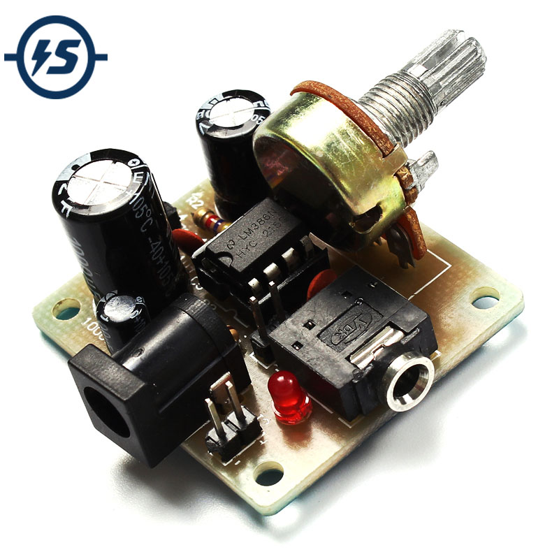 LM386 Electronic DIY Kit Super MINI Amplifier Board DIY Amplifier Kit 3V-12V Power Amplifier Suit Fun ICSK025A For Small Speaker