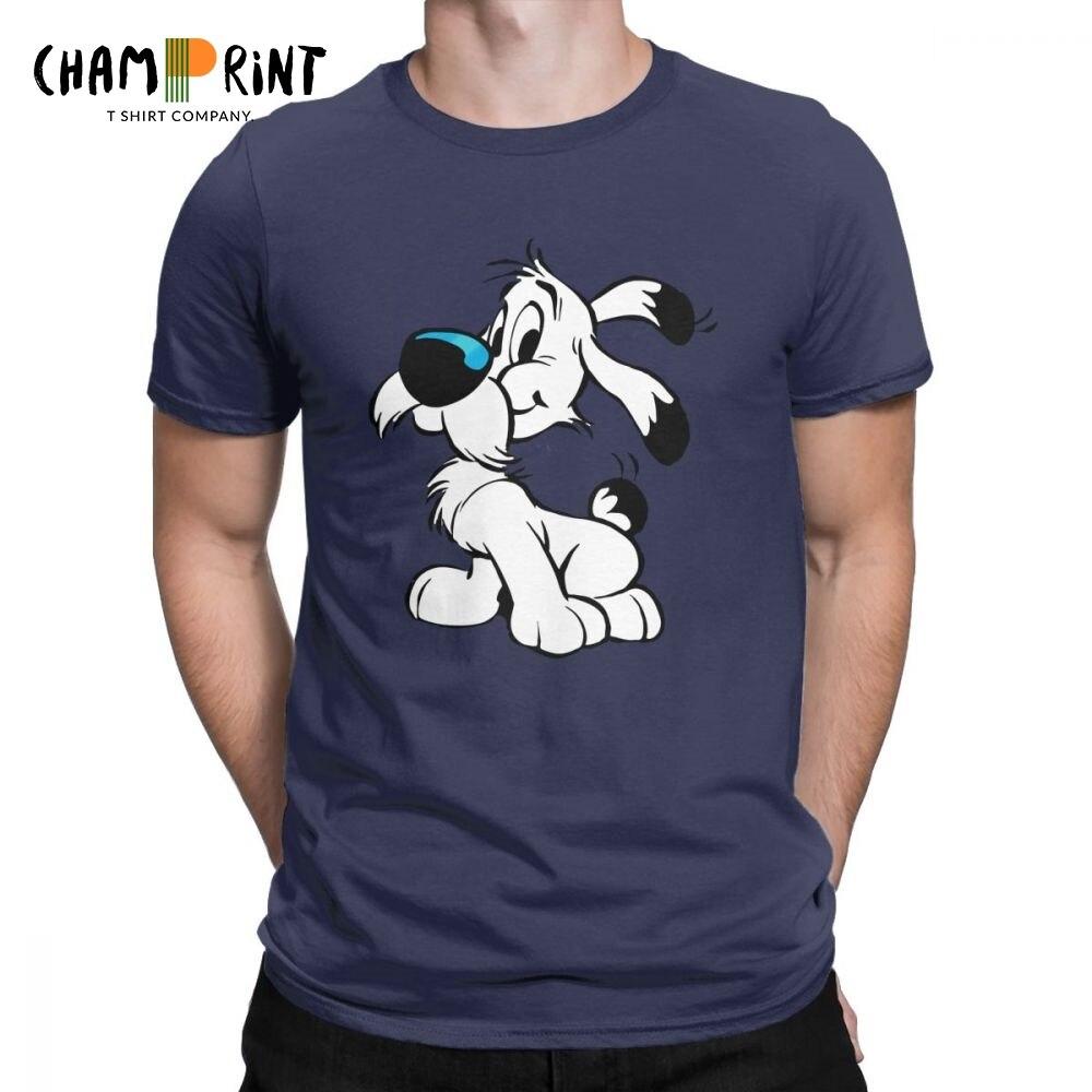 Men's   T  -  Shirts   Asterix And Obelix Novelty Cotton Tees Short Sleeve Dogmatix Idefix Ideafix Obelix Dog   T     Shirt   Tops Plus Size