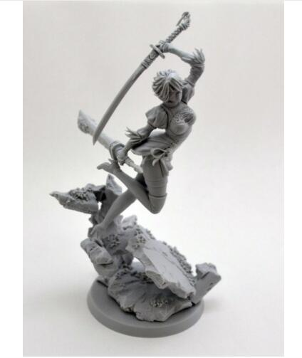 1/24 75mm Girl With Sword Beauty Ancient Soldier 75mm    Toy Resin Model Miniature Kit Unassembly Unpainted