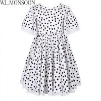 W L MONSOON Girls Summer Dress 2018 Brand Children Party Dresses Dot Pattern Vestidos Costume For