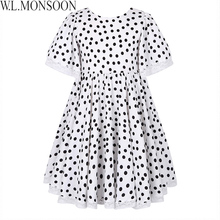 W.L.MONSOON Girls Summer Dress 2018 Brand Children Party Dresses Dot Pattern Vestidos Costume for Kids Clothes Princess
