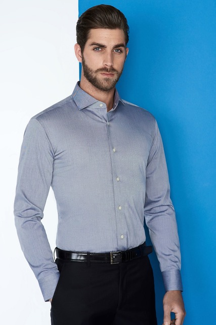 Free shipping thick 100% cotton dark blue oxford fabric with spread collar and button cuff shirts for men