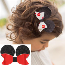 New Cute Minnie Ears Children Hairpins Girls Kids Hair Clips Bows Barrettes Accessories For Headdress Headwear