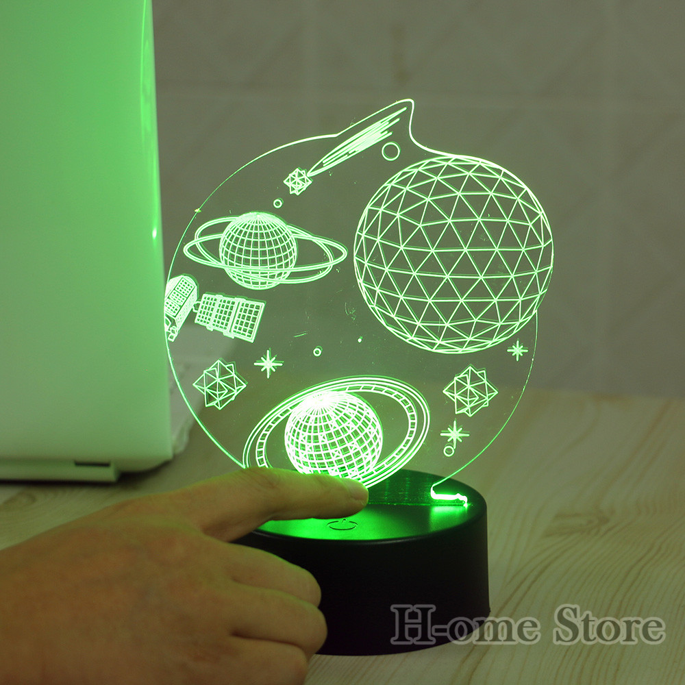 7 Color Wolf Lamp 3D Visual Led Night Lights for Kids Touch USB ...