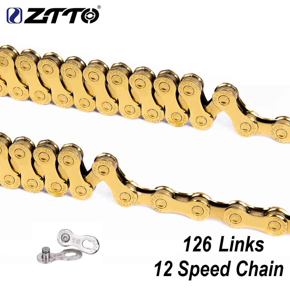 ZTTO 12 Speed MTB Bike Gold Chain 126L 126 Links 1X12 System Power Lock Connector Missing Link Included For Mountain BicycleZTTO 12 Speed MTB Bike Gold Chain 126L 126 Links 1X12 System Power Lock Connector Missing Link Included For Mountain Bicycle