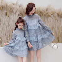 Spring Summer Dresses Mommy and me Clothes Long Sleeve Dress Family Matching Outfits Mother Daughter Lace Fashion Dress Clothing
