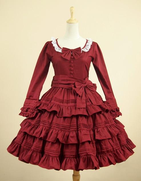 Purple wings  high quality Ladies Victorian Vintage Lolita Cosplay Costume big pendulum multilayer ruffled skirt detachable bowknot red Dress