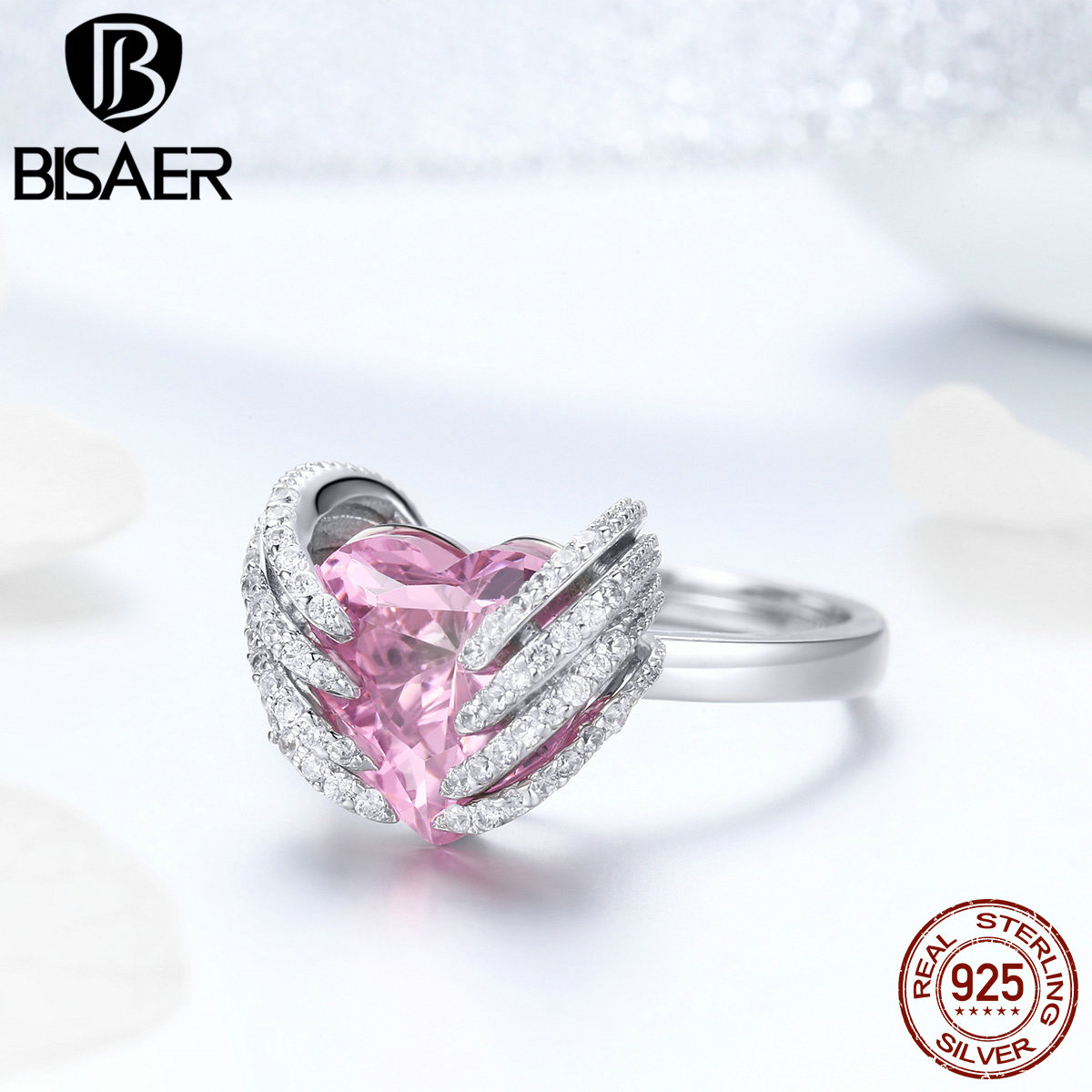 BISAE 925 Sterling Silver Wedding Ring Pink CZ Angel Wings With Guardian Heart Rings for Women Wedding Engagement Jewelry EFR014 rhinestone angel wings ring