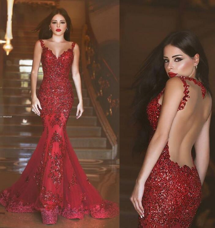 Sexy Burgundy Mermaid Prom Dresses 2017 Evening Gowns Sparkly Long