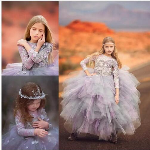 Lavender Ball Gown Little Girls Dresses Long Sleeves Lace 3d Appliques Flower Girls Dresses First Communion Dress Any Size cnd цвет lavender lace
