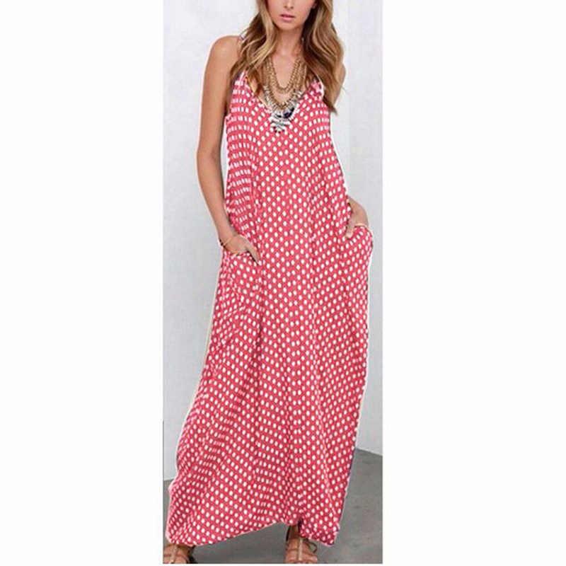 Boho женское длинное платье-рубашка в горошек, летнее сексуальное платье с v-образным вырезом, платье трапециевидной формы, пляжный сарафан без бретелек, макси Vestidos