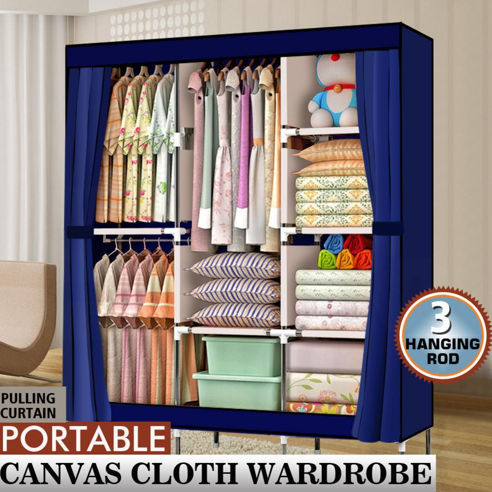 Portable Closet Wardrobe Clothes Rack Storage Organizer With Shelf Blue Stable Durable Anti-dust