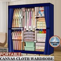 Portable Closet Wardrobe Clothes Rack Storage Organizer With Shelf Blue Stable Durable Anti dust