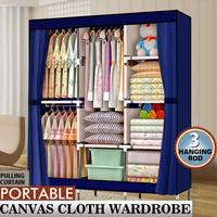 Portable Closet Wardrobe Clothes Rack Storage Organizer With Shelf Blue Stable Durable Anti dust