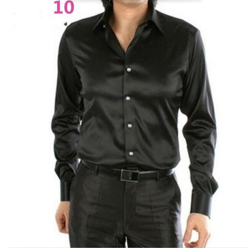 Black Silk Dress Shirts Men