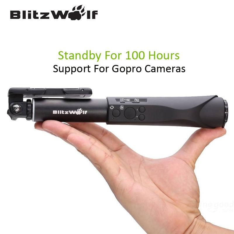 BlitzWolf Extensible Bluetooth Fil Sans Fil Selfie Sticks Manfrotto Universel Pour Samsung Pour iPhone 6 6 s Plus Pour Téléphone Intelligent