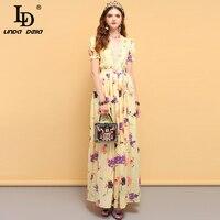 LD LINDA DELLA Summer Fashion Designer Dress Women's Bow Tie Ruffles Floral Printed Side slit Elegant Party Ladies Long Dresses