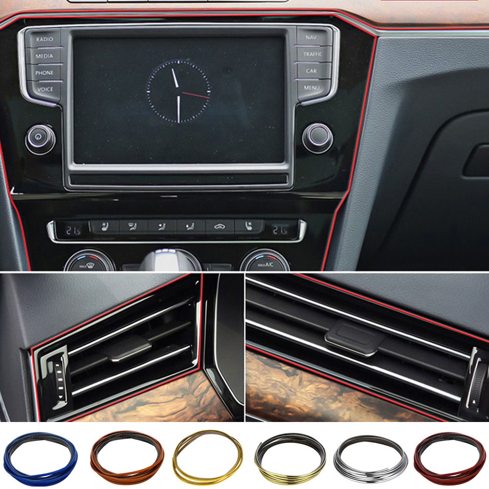 3 Meters DIY Car Interior Decor Door Sticker Moulding Styling Strip Trim Decals For bmw e87 e83 e82 e70 e65 e61 e60 e53 e46 coup Воск