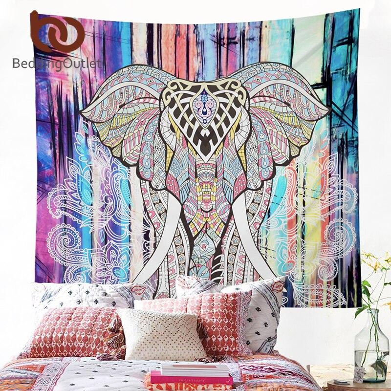 BeddingOutlet elefante tapiz de estampado de colores tapiz decorativo de Mandala acuarela 130cm x 150cm 153cm x 203cm Boho alfombra