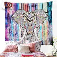 Ropa de cama tapiz de elefante tapiz decorativo de mandala impreso de color acuarela 130cm x 150cm 153cm x 203cm Alfombra de pared Boho