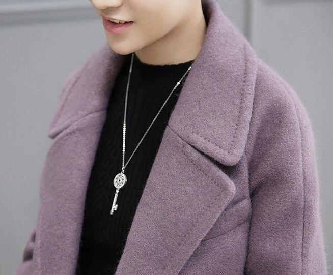 D'hiver Et Solide Laine Nouvelle purple Couleur De X806 Moyen Veste 2018 Long Automne Khaki Manteau Mince Femelle Mode Femmes z10R7g78q