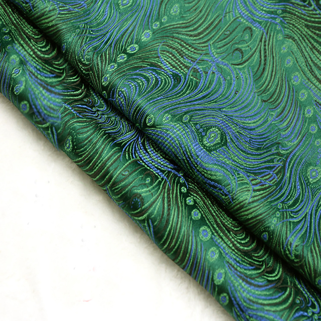 The Green Peacock Brocade Fabric Damask Jacquard Apparel Costume