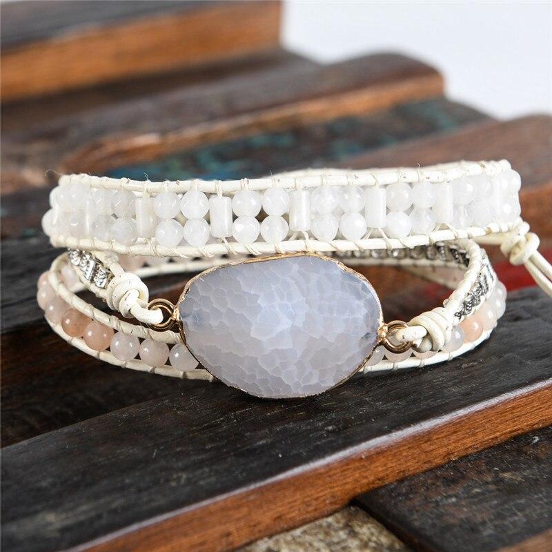 Vintage Leder Armbänder Natürliche Stein 3 Stränge Wrap Armbänder Für  Männer Und Frauen