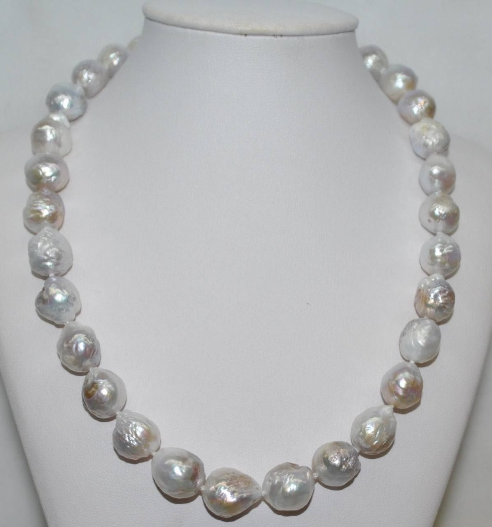 nice 12 13MM natural cultured freshwater white baroque pearl necklace 17
